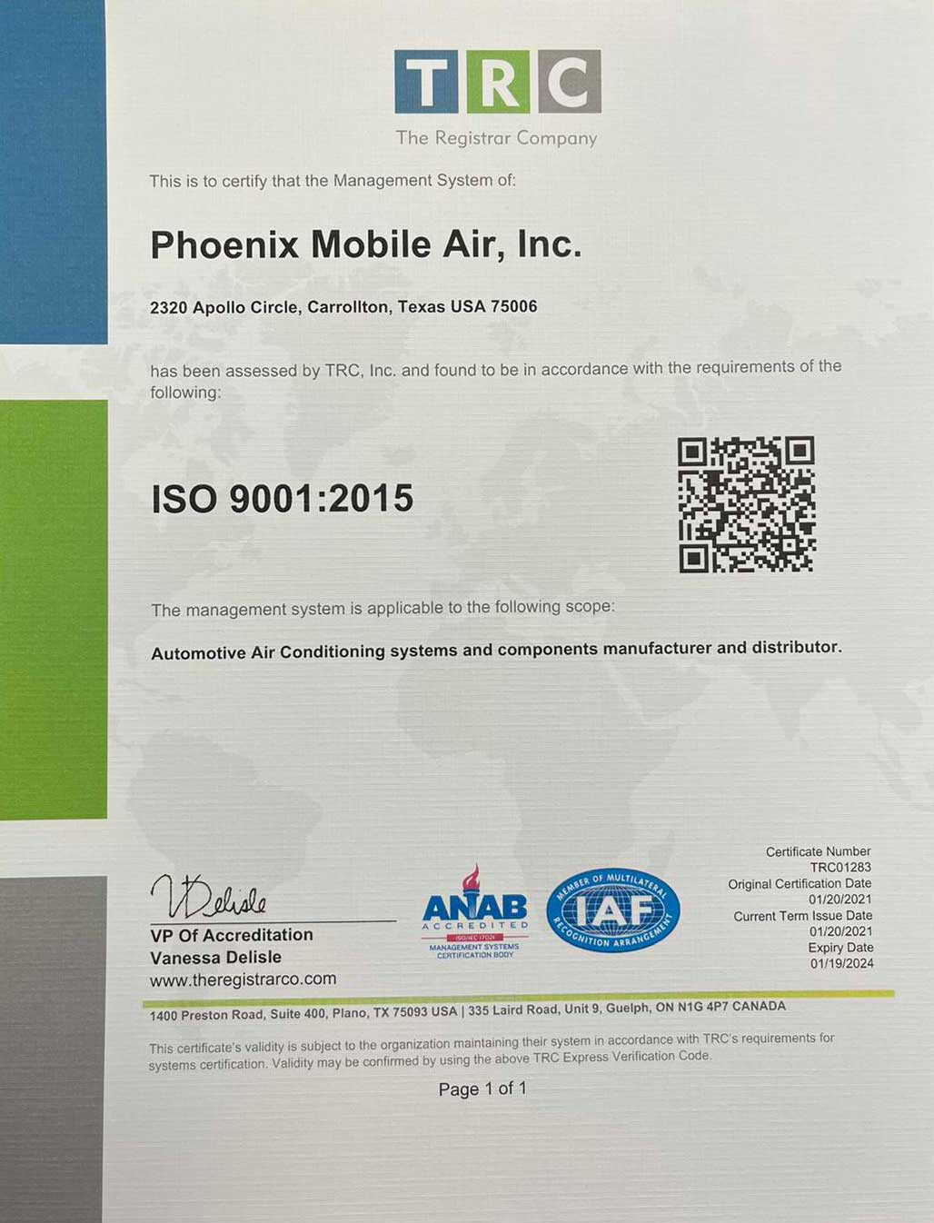 ISO Certificate of Phoenix Mobile Air, Inc.